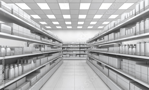 Shelves with blank goods in the interior of the store. 3d image