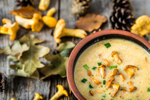 Mushroom cream soup on wooden background - 169508966