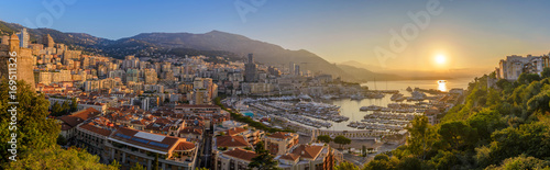 Papiers peints Photos panoramiques Monaco Ville Harbour sunrise panorama city skyline, Monte Carlo, Monaco