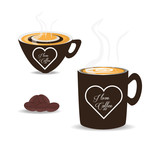 flat set icon beans and cup of coffee vector illustration
