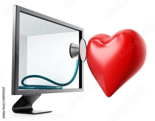 Stethoscope and red heart inside the screen. 3D illustration
