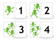 Learn counting 2-part puzzle cards to cut out and play, frogs themed, numbers 1 - 4
