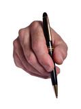 La mano que firma el documento con el bolígrafo.