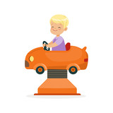 Cute blonde little boy riding on an orange car, kid have a fun in amusement park cartoon vector Illustration