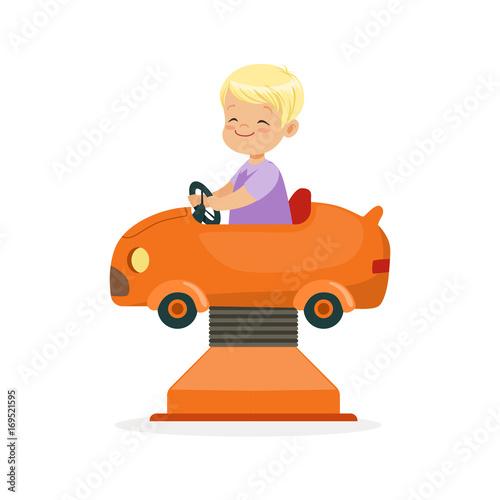 Fotobehang Auto Cute blonde little boy riding on an orange car, kid have a fun in amusement park cartoon vector Illustration