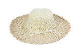 Woven beige hat decorated with rope, isolated on a white background.
