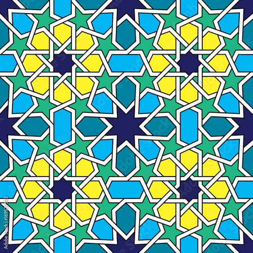 Moroccan tiles pattern, Moorish seamless vector design, Geometric abstract tiles