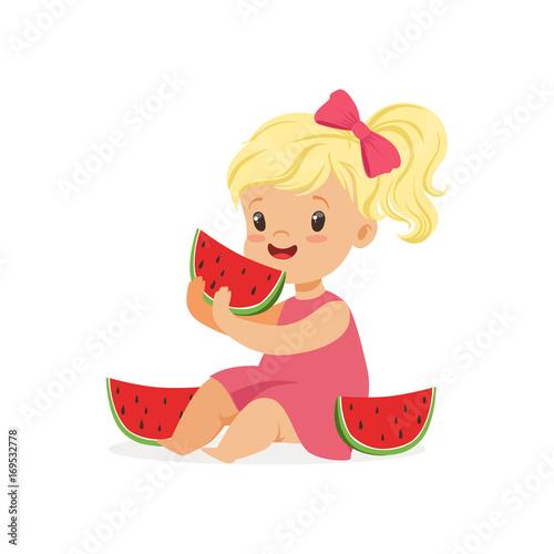 Sweet little blonde girl enjoying eating watermelon cartoon vector Illustration