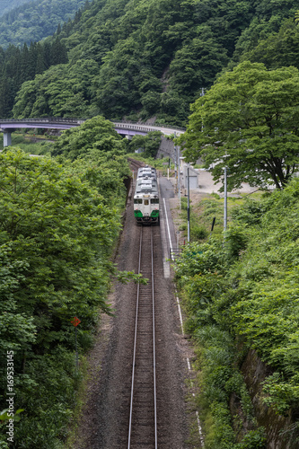 Papiers peints Voies ferrées Tadami railway line in summer season at Fukushima prefecture.