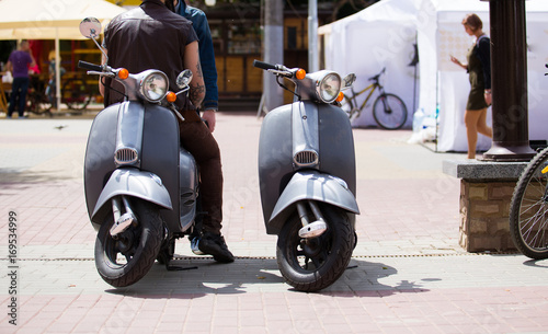 Aluminium Scooter classic city motorbike on road