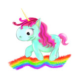 illustrated blue Unicorn with pink hair with rainbow