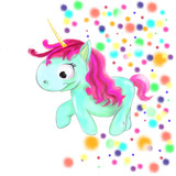illustrated blue Unicorn with pink hair with Colored dots background