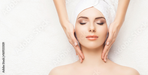 Portrait of a woman in spa. Massage healing procedure. Health care, skin lifting and medical concept. © Maksim Šmeljov