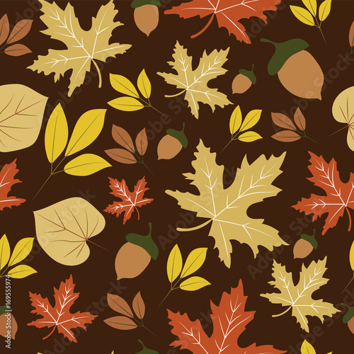 Autumn leaves brown seamless pattern