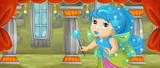 cartoon scene - beautiful tiny fairy flying in the castle room