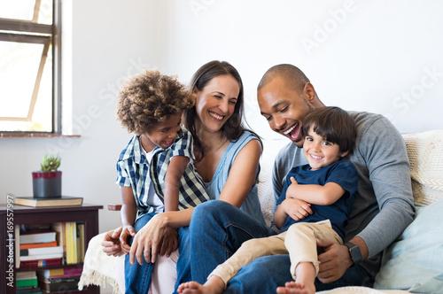 Leinwandbild Motiv Family having fun at home