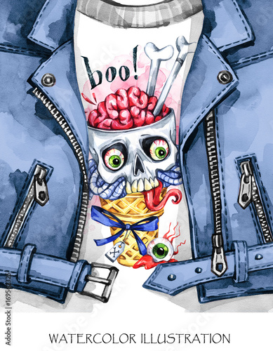 Watercolor fun illustration. Halloween card. Hand painted leather jacket with print. Waffle cone and skull with brains. Rock style girl. Ready for print, poster, design, greeting, invitation cards. - 169562325