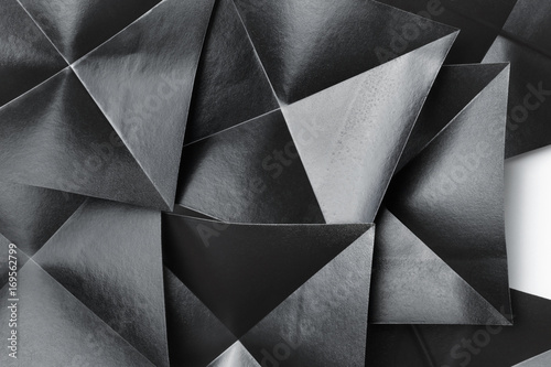 Group of black geometric shapes, top view