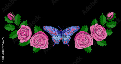 Poster Vlinders in Grunge Roses and Butterfly Embroidery Composition