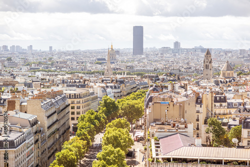 Poster Aerial cityscape view with Montparnasse tower during the sunny day in Paris