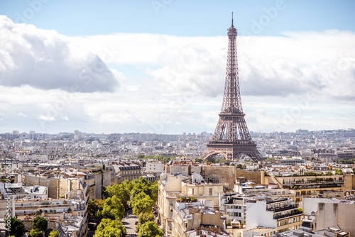 Aerial cityscape view on the Eiffel tower during the sunny day in Paris Poster