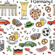 Germany symbols vector seamless pattern. Background with cute hand drawn Germany elements