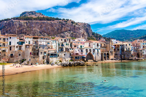 Poster Palermo View of cefalu, town on the sea in Sicily, Italy