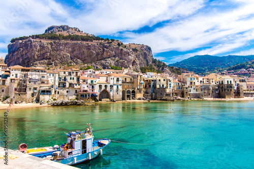 Plexiglas Palermo View of cefalu, town on the sea in Sicily, Italy