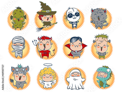 Cute Halloween monsters. - 169587727