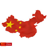 China map with waving flag of country. - 169591184