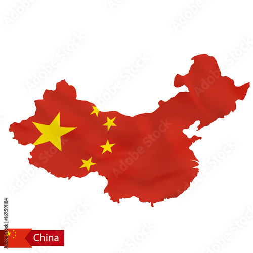 Fototapeta China map with waving flag of country.