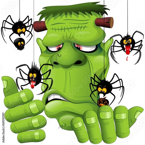 Tuinposter Draw Frankenstein Spiders Pets Cartoon