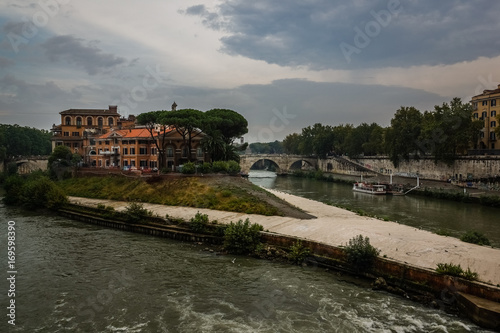 Staande foto Rome Tiber island in Rome, Italy