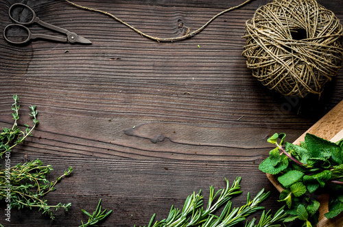 fresh herb frame on dark wooden background top view - 169601540