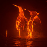 Lava Flowing Into the Pacific Ocean at Night, Big Island, Hawaii - 169601718