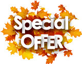 Fototapety Autumn special offer background with leaves.