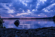 beautiful landscape with the sunset on the Urals lake - 169606157