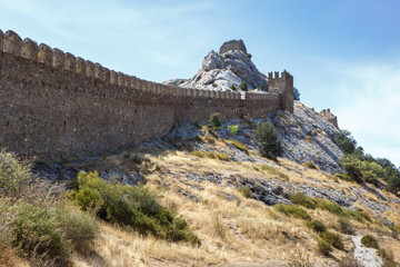Ancient Genoese fortress in the city of Sudak, Crimea.
