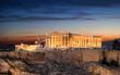Die Akropolis von Athen nach Sonnenuntergang, Griechenland