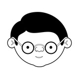 caricature face grandfather with glasses and haircut in black silhouette sections - 169615178