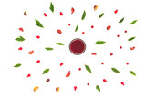 Autumn background. Dried autumn flowers, berry juice, green leaves, fresh berry on white background. Flat lay, top view