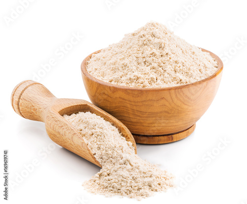 Whole grain buckwheat flour isolated on white
