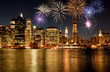 Fireworks over New York City skyline