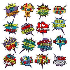 Back to School in comic speech bubbles