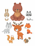 The Image Of Cute Forest Animals In Cartoon Style Children's Illustration  Set Wall Sticker