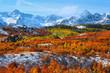 Scenic landscape of Dallas divide in autumn time
