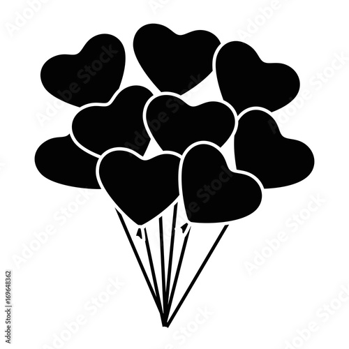 heart balloons icon over white background vector illustration