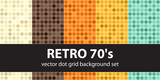 Polka dot pattern set Retro 70s. Vector seamless geometric dot backgrounds