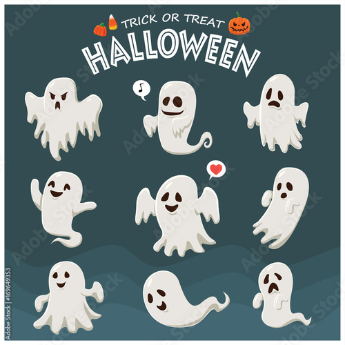 Fotobehang Vintage Poster Vintage Halloween poster design with vector ghost character.