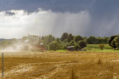 stormy farming scenery